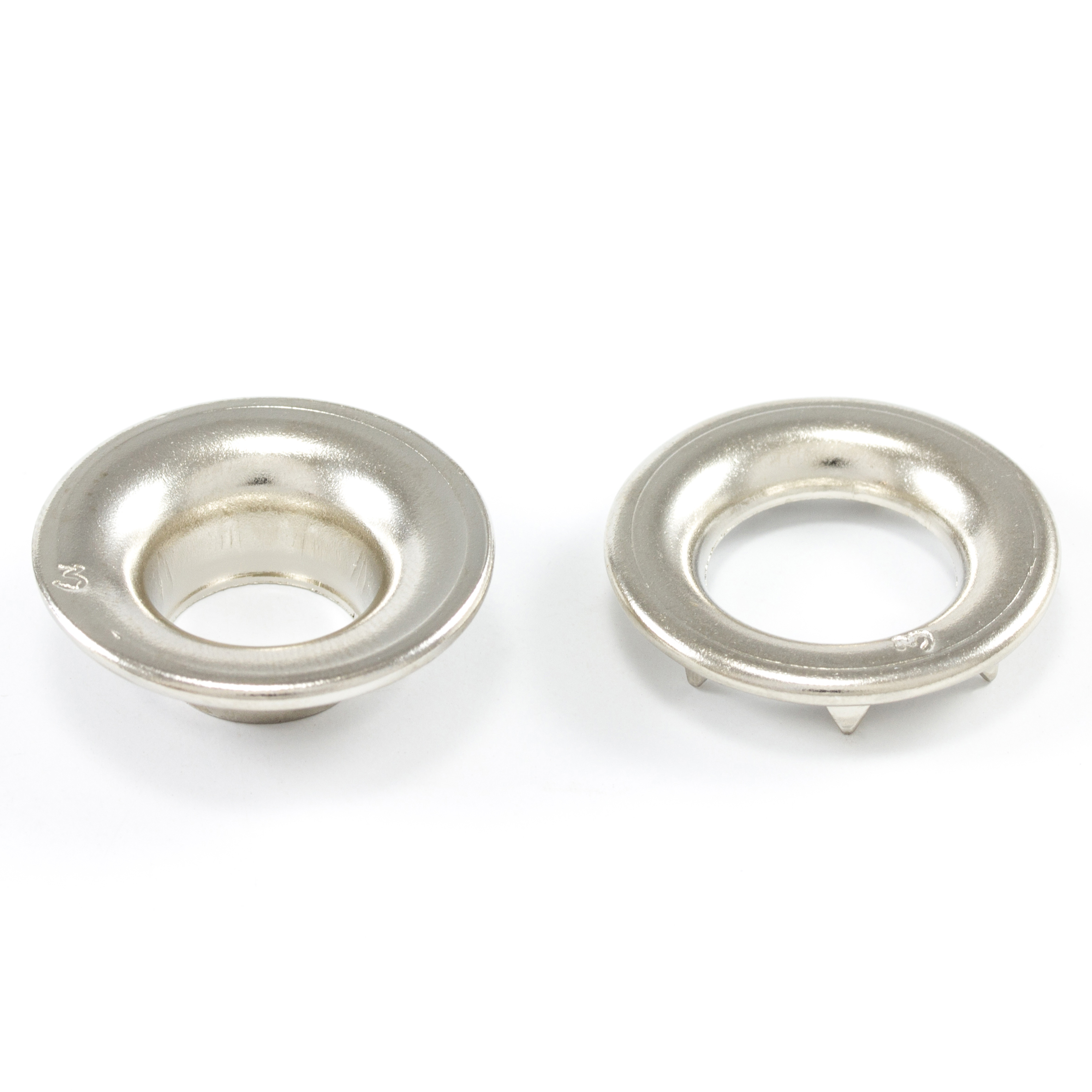 Thumbnail DOT Rolled Rim Grommet with Spur Washer #3 Nickel Plated Brass 15/32 1