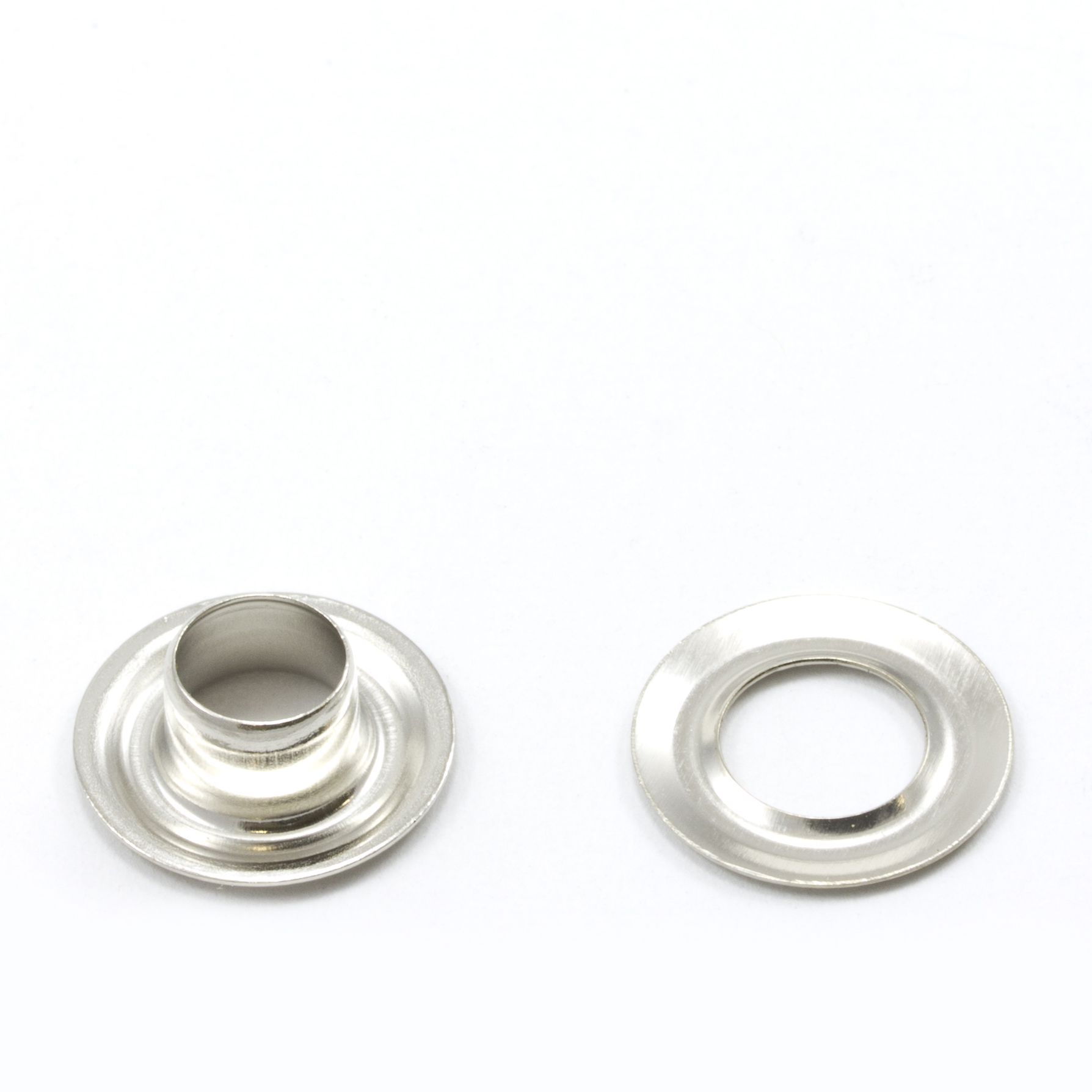 Grommet with Plain Washer #0 Brass Nickel Plated 1/4