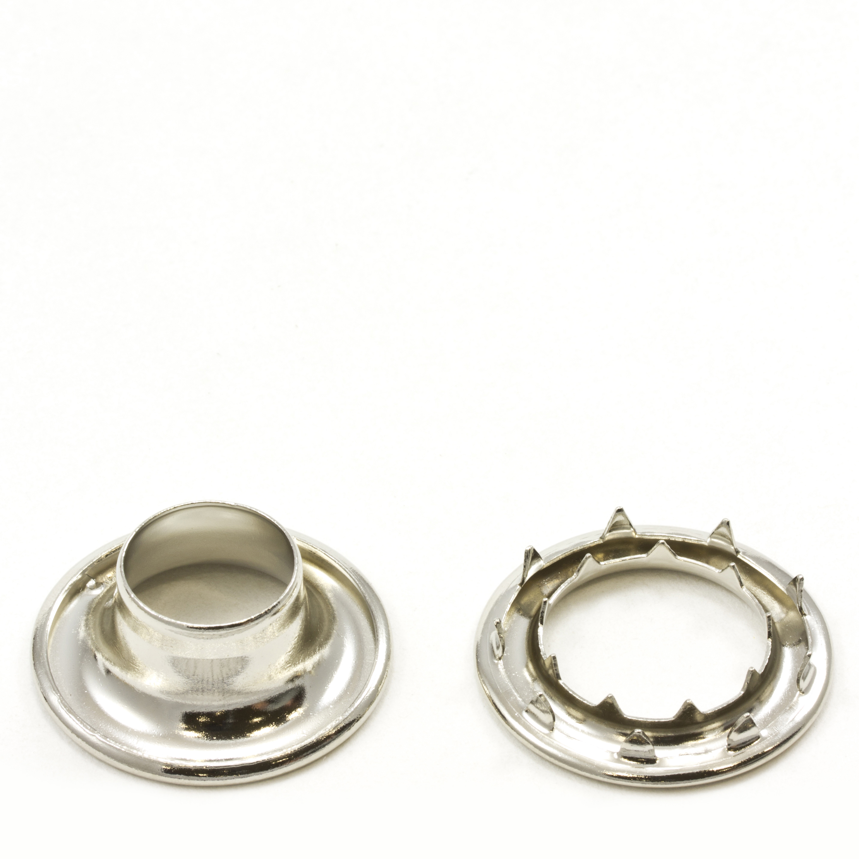 Rolled Rim Grommet with Spur Washer #5 Brass Nickel Plated 5/8