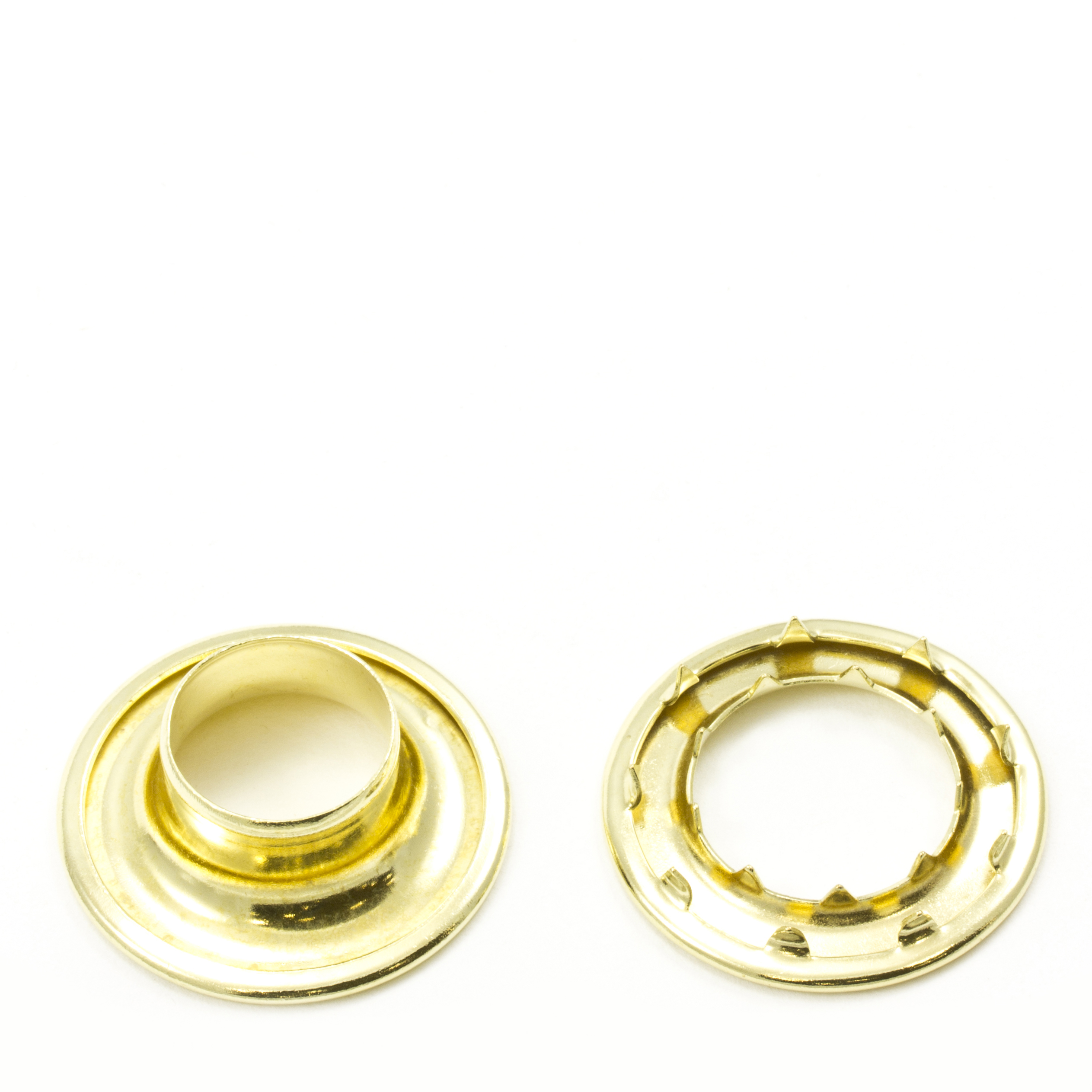 Rolled Rim Grommet with Spur Washer #6 Brass 3/4