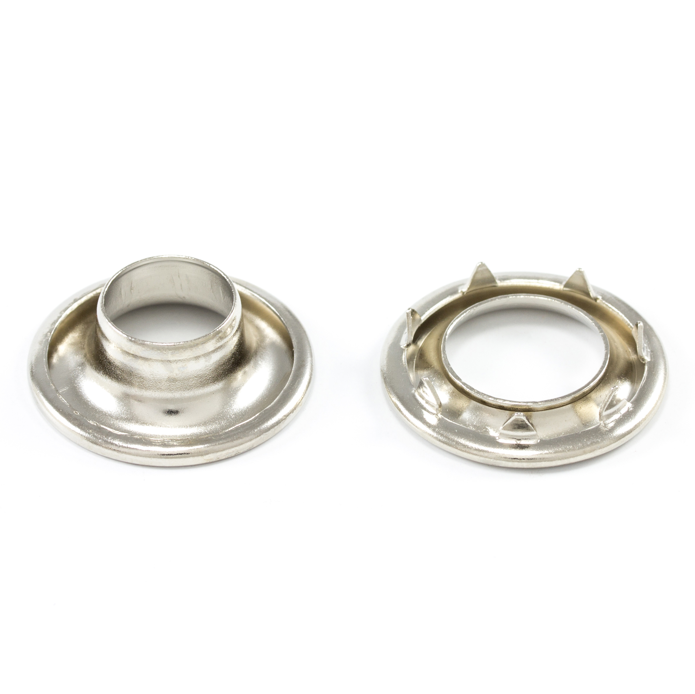DOT Rolled Rim Grommet with Spur Washer #3 Nickel Plated Brass 15/32