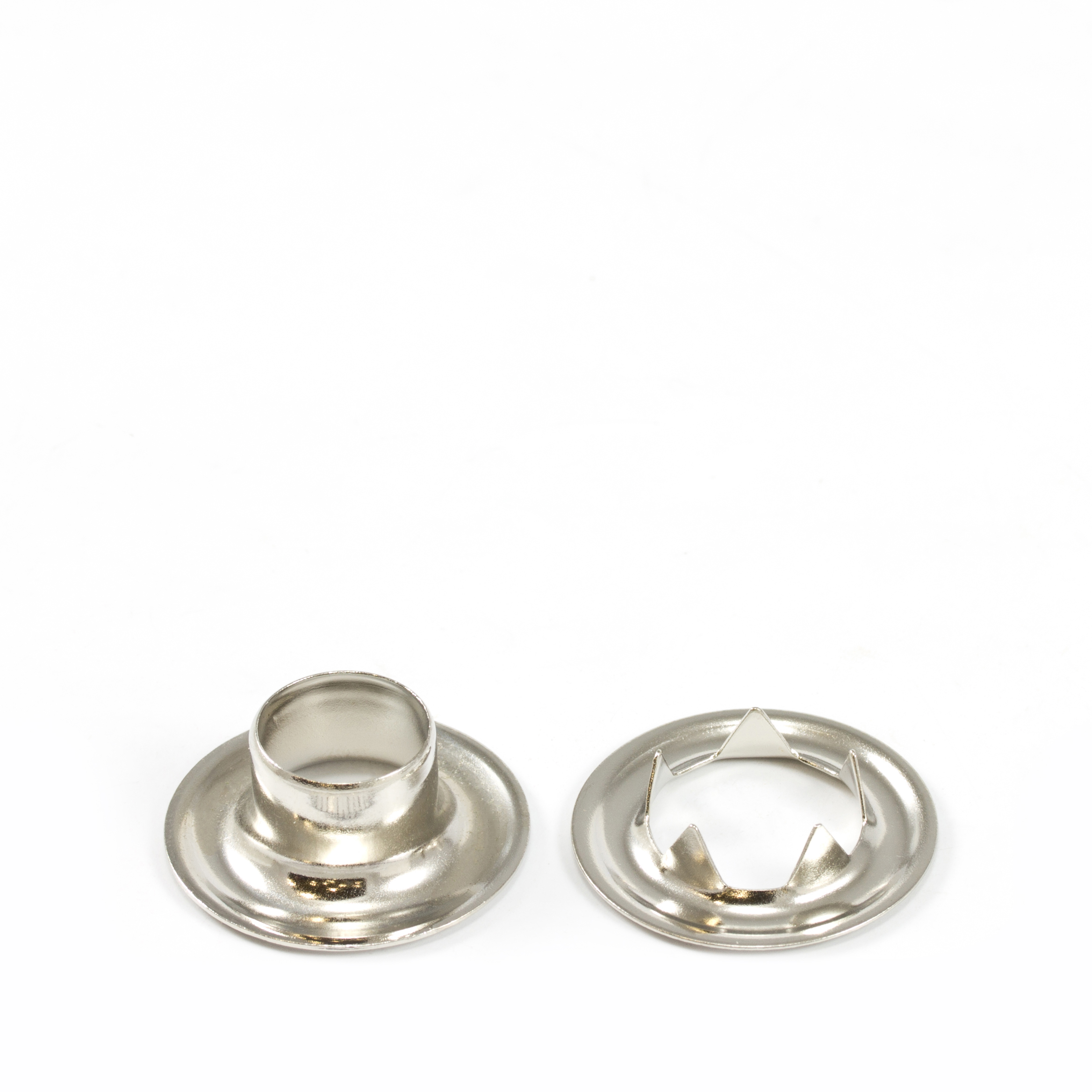 Grommet with Tooth Washer #4 Brass Nickel Plated 1/2