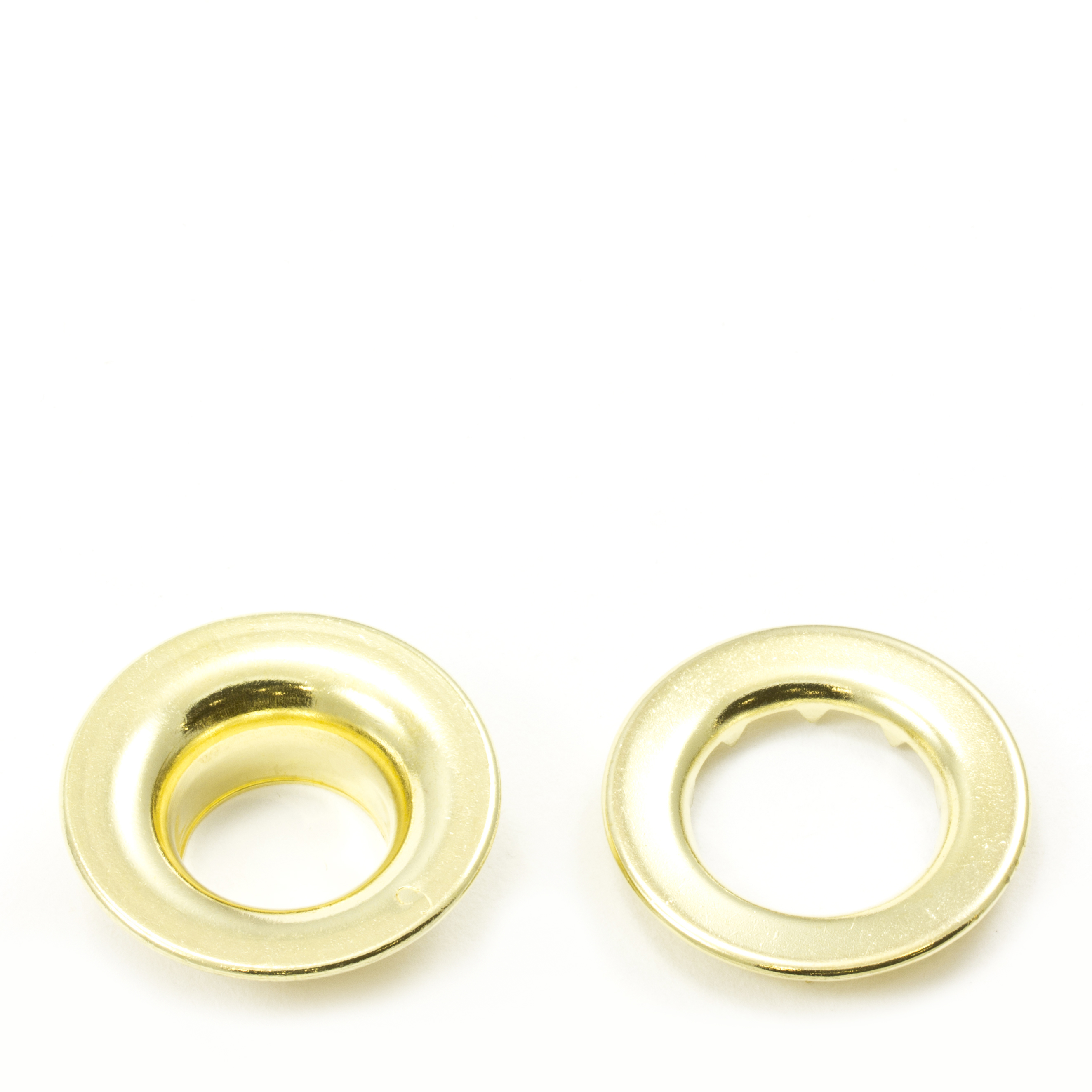 Thumbnail Rolled Rim Grommet with Spur Washer #6 Brass 3/4 1