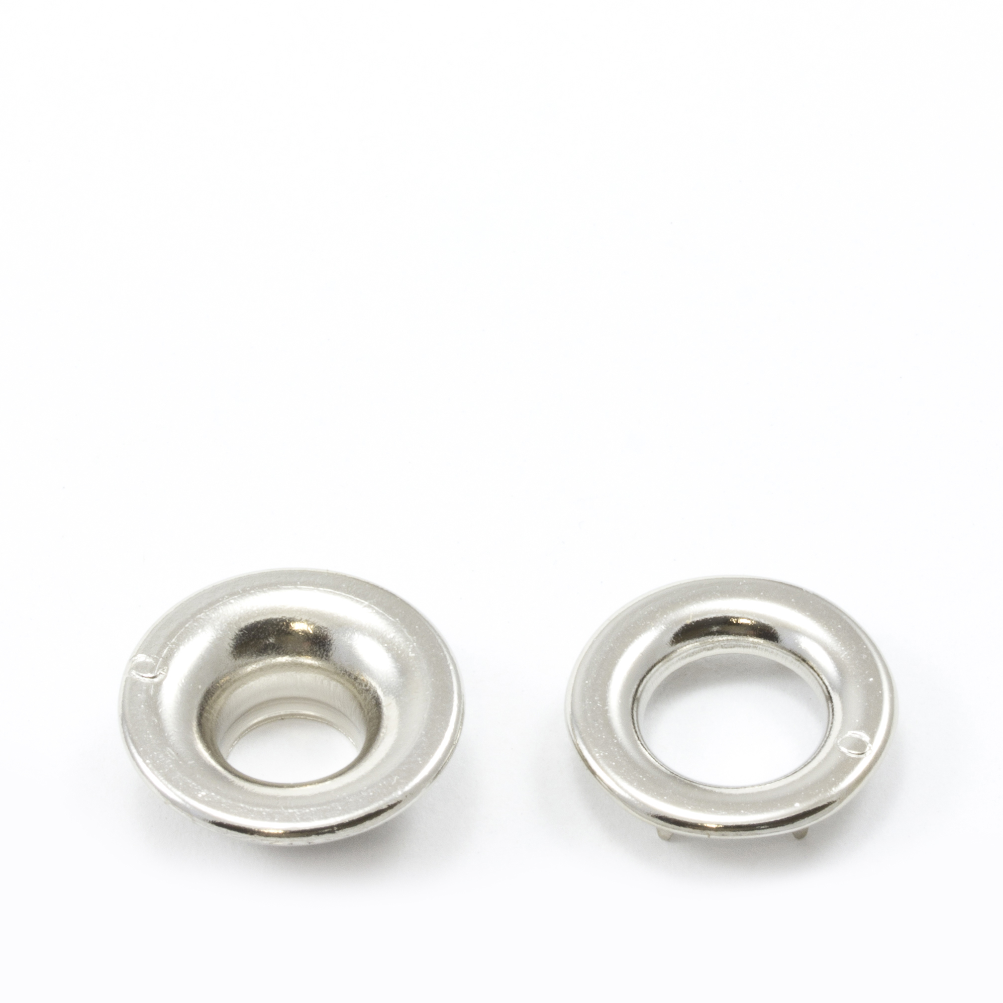 Thumbnail Rolled Rim Grommet with Spur Washer #0 Brass Nickel Plated 9/32 1