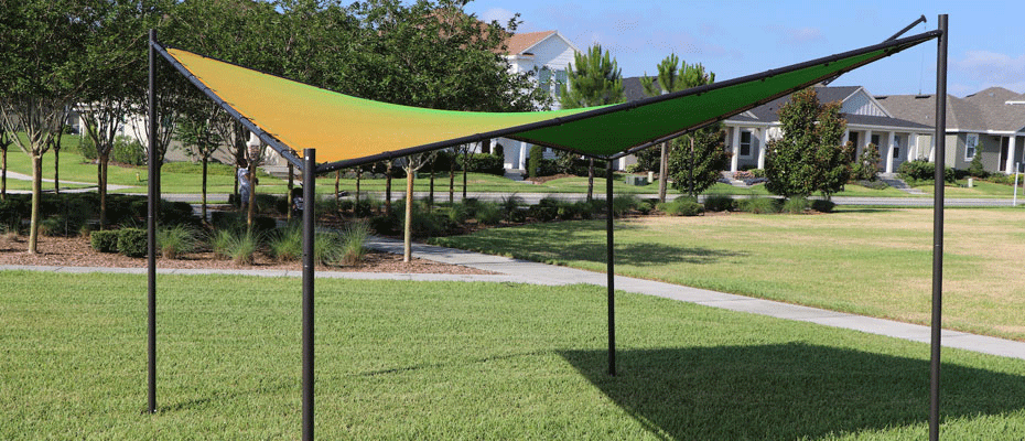 DualShade shade sail fabric structure in field