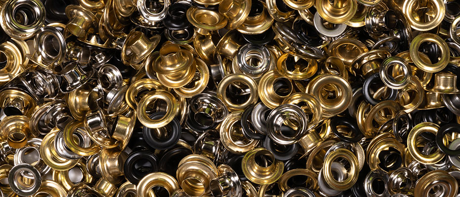 Self-piercing, brass, nickel-plated, aluminum grommets