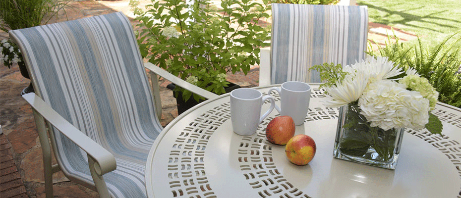 Patio furniture with Phifertex fabric