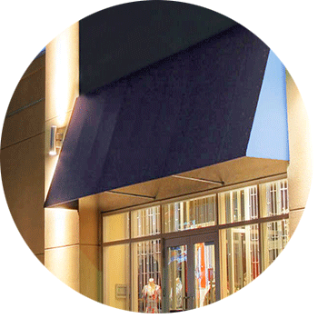 Awning on building
