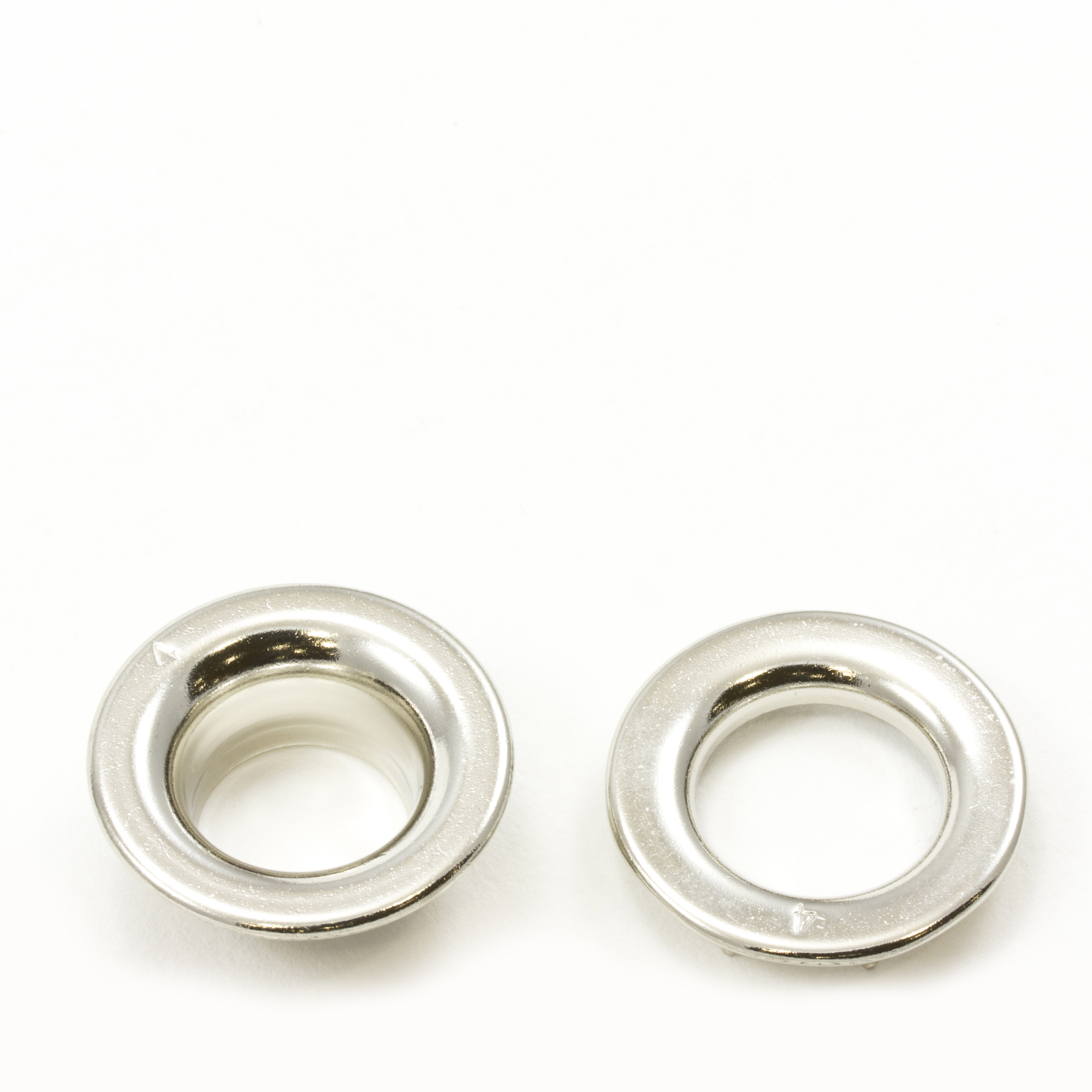 Thumbnail Rolled Rim Grommet with Spur Washer #4 Brass Nickel Plated 9/16 1