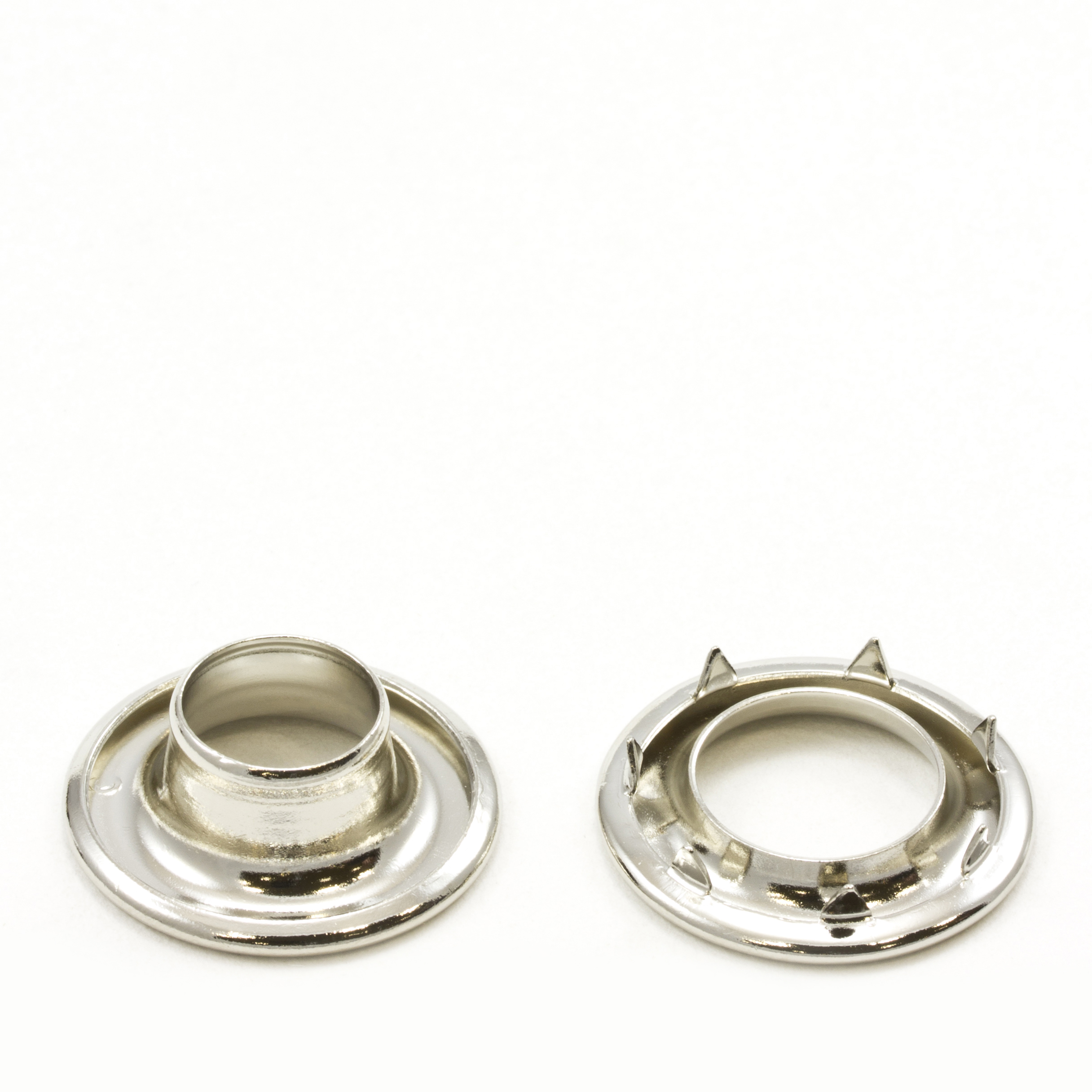 Rolled Rim Grommet with Spur Washer #3 Brass Nickel Plated 15/32