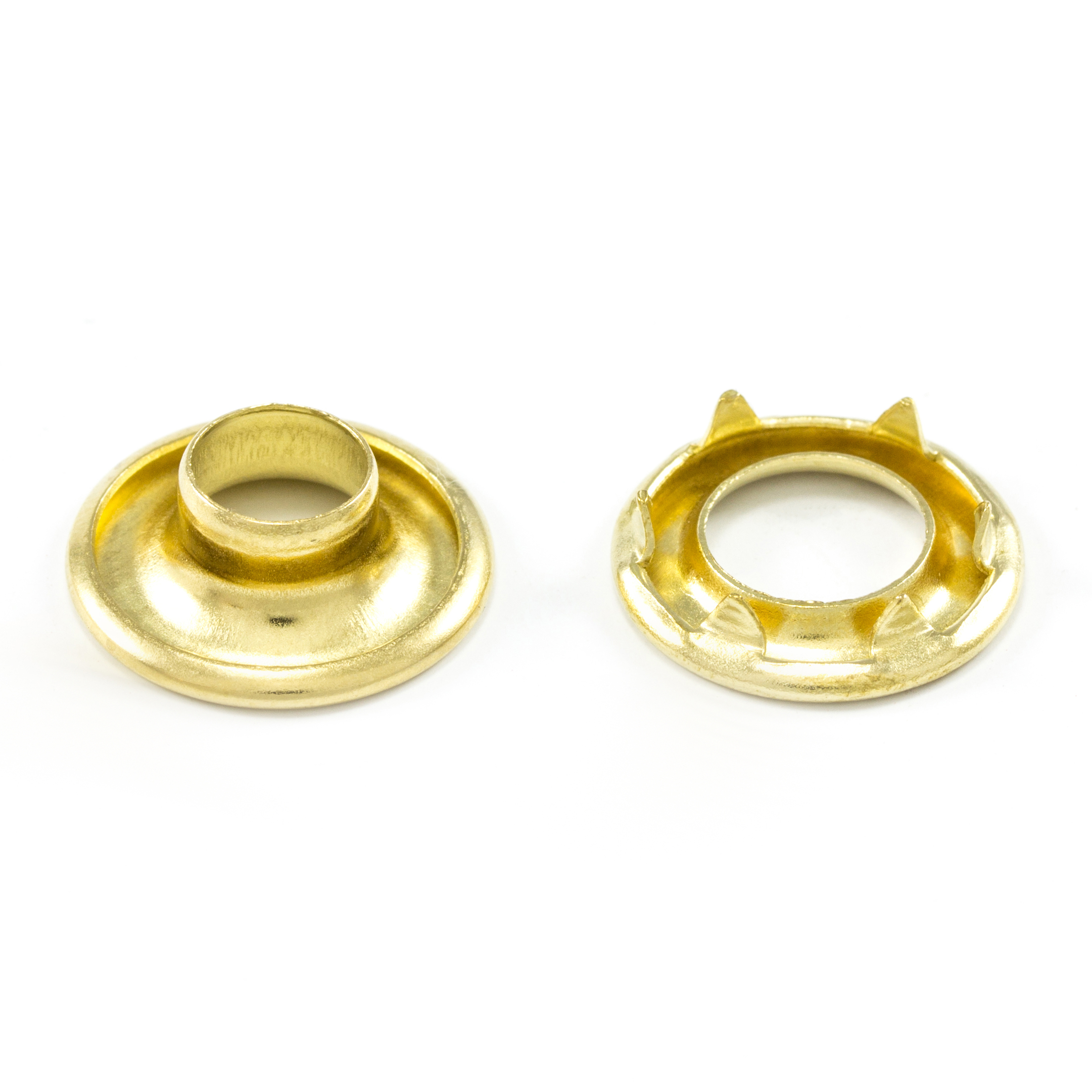 DOT Rolled Rim Grommet with Spur Washer #0 Brass 9/32