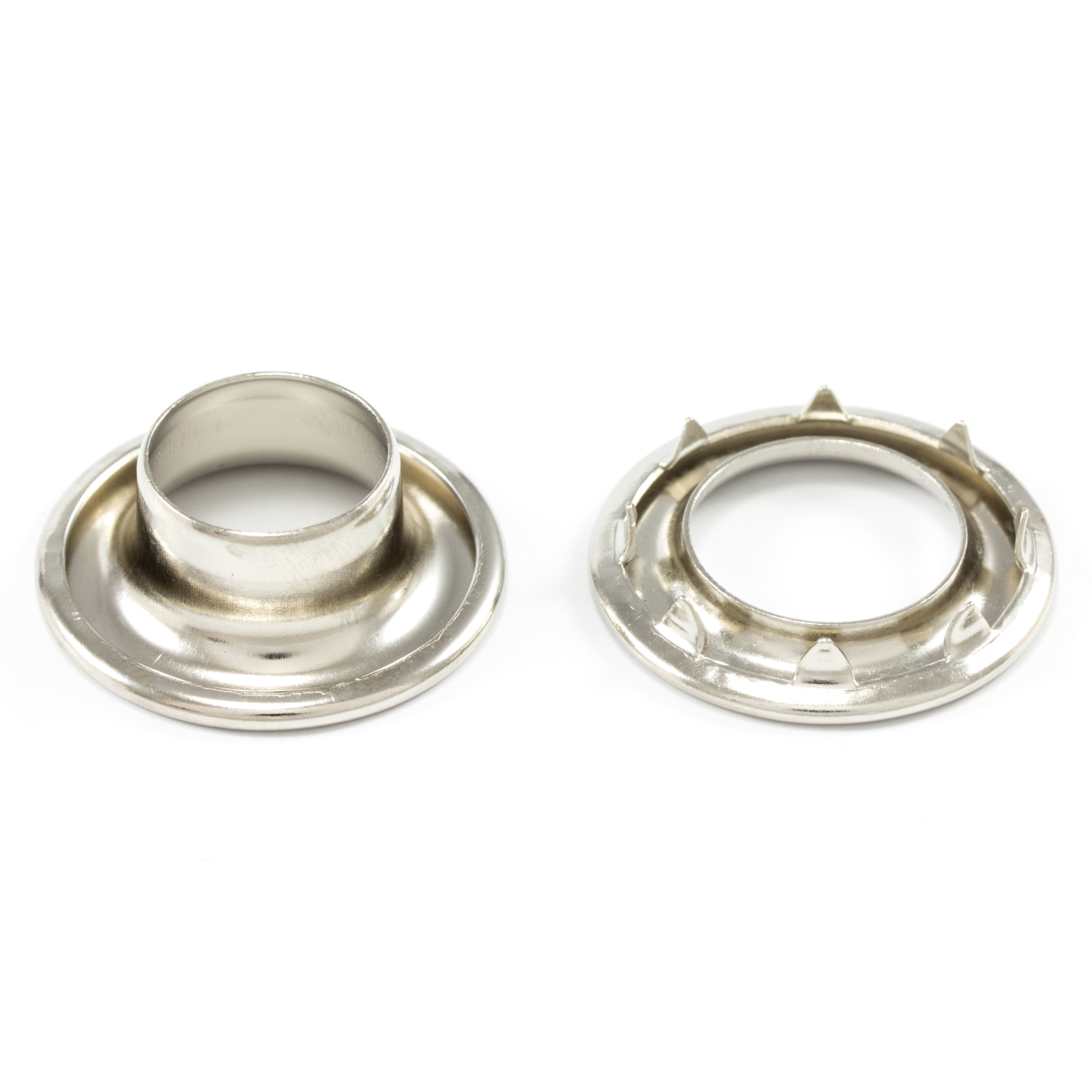 DOT Rolled Rim Grommet with Spur Washer #4 Nickel Plated Brass 9/16