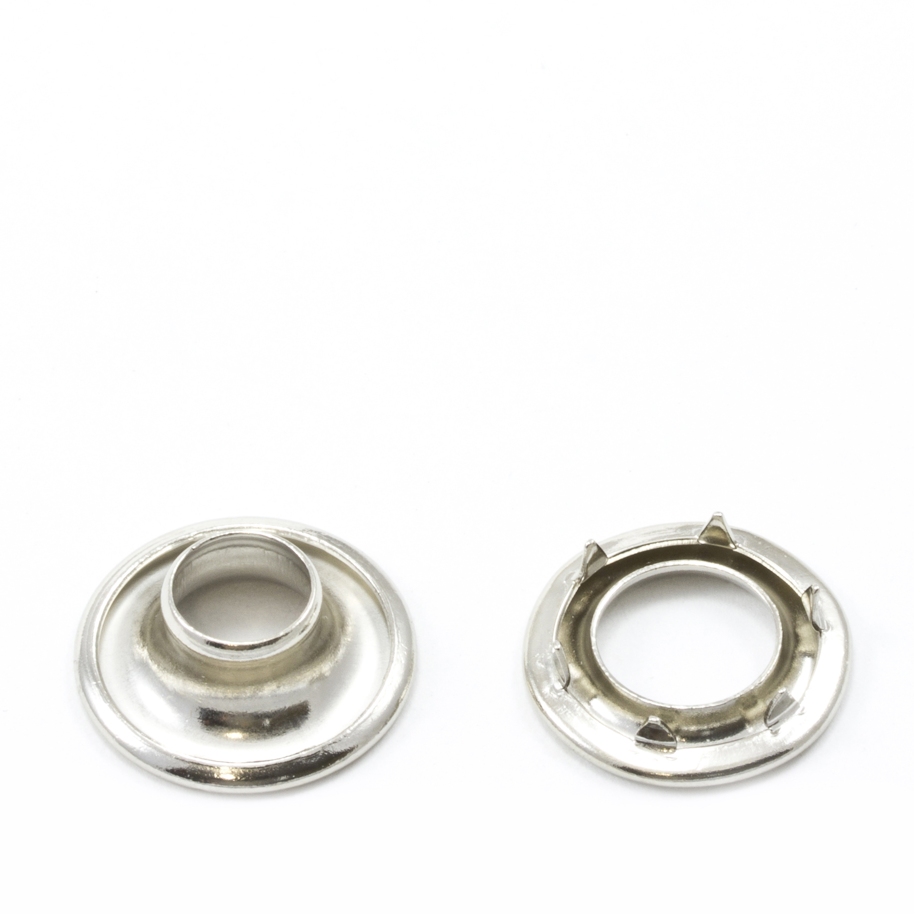 Rolled Rim Grommet with Spur Washer #0 Brass Nickel Plated 9/32