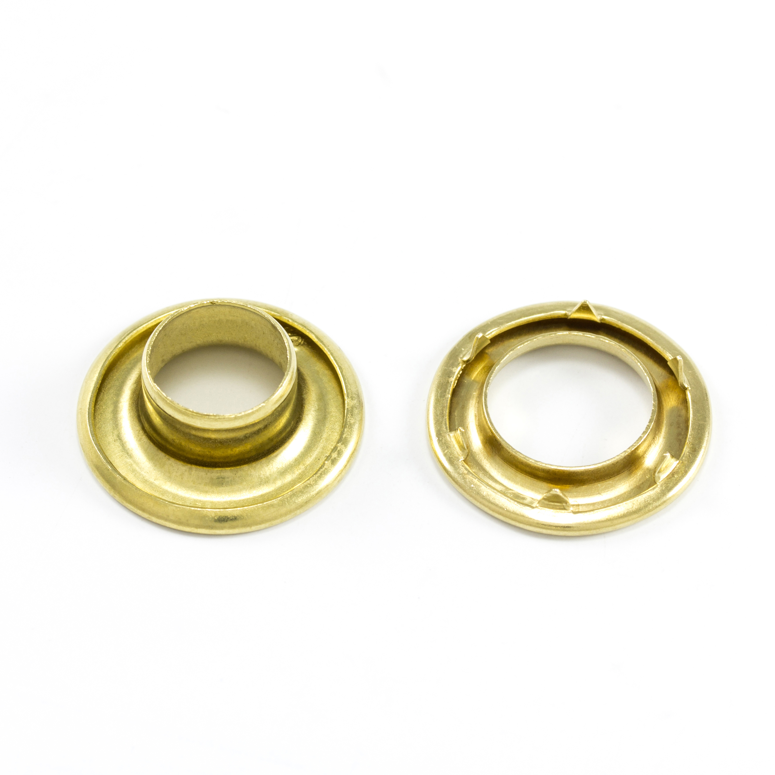 DOT Rolled Rim Grommet with Spur Washer #2 Brass 7/16