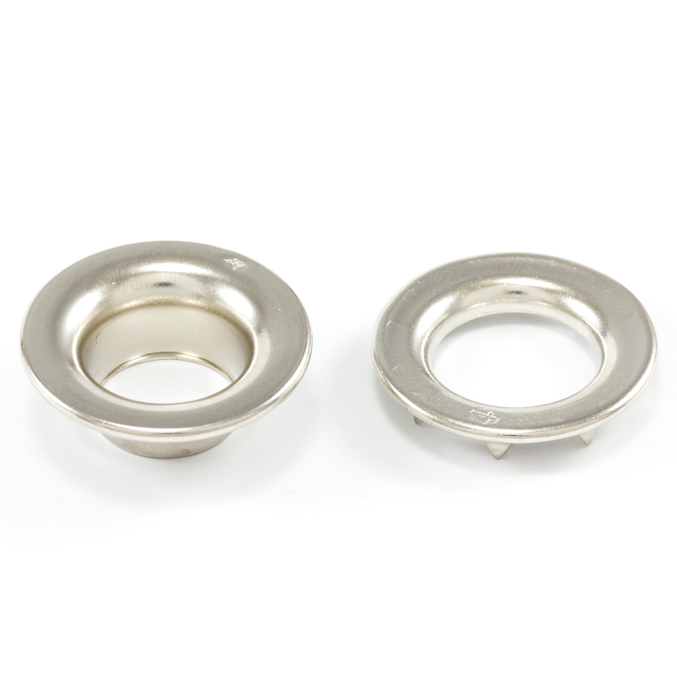Thumbnail DOT Rolled Rim Grommet with Spur Washer #4 Nickel Plated Brass 9/16 1