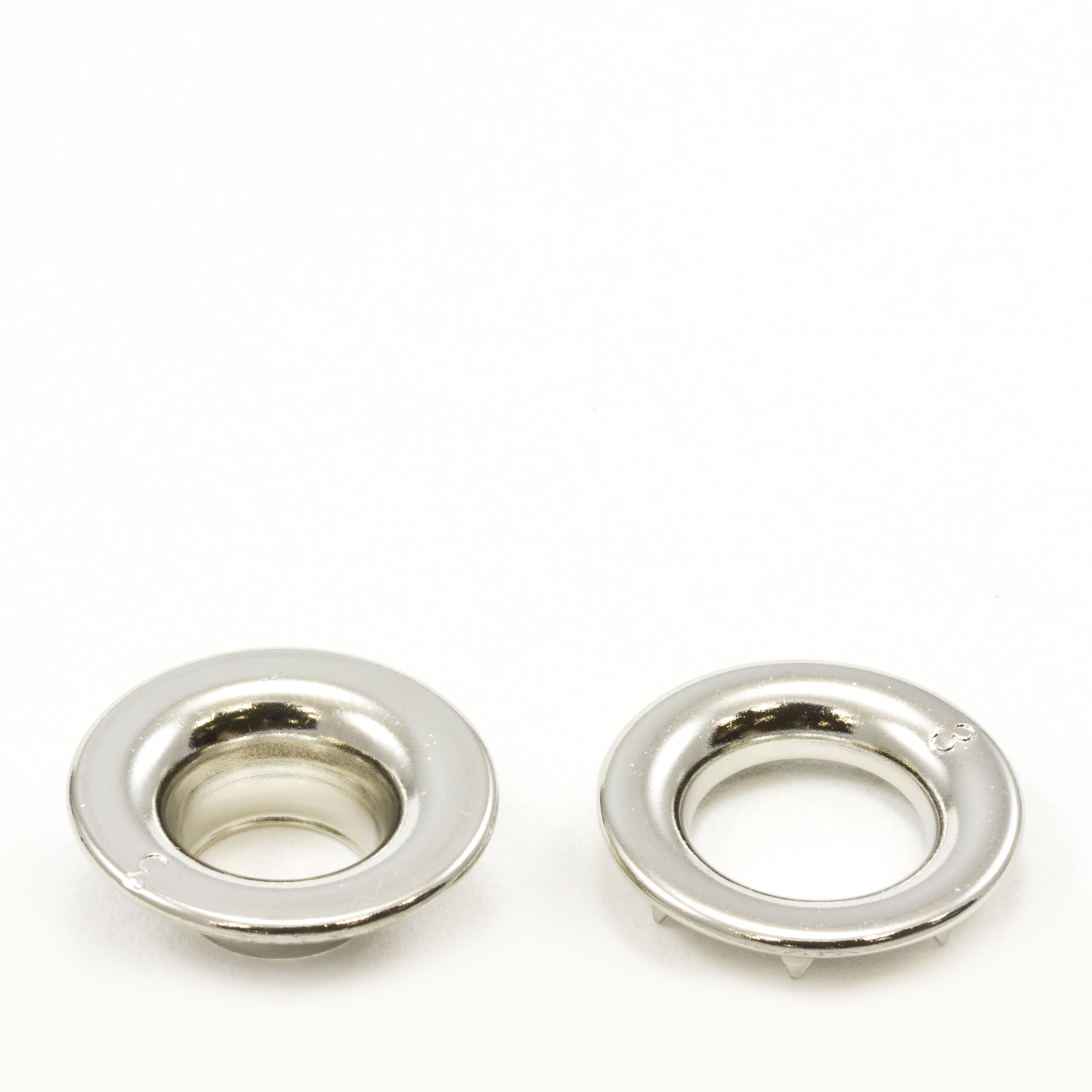 Thumbnail Rolled Rim Grommet with Spur Washer #3 Brass Nickel Plated 15/32  1