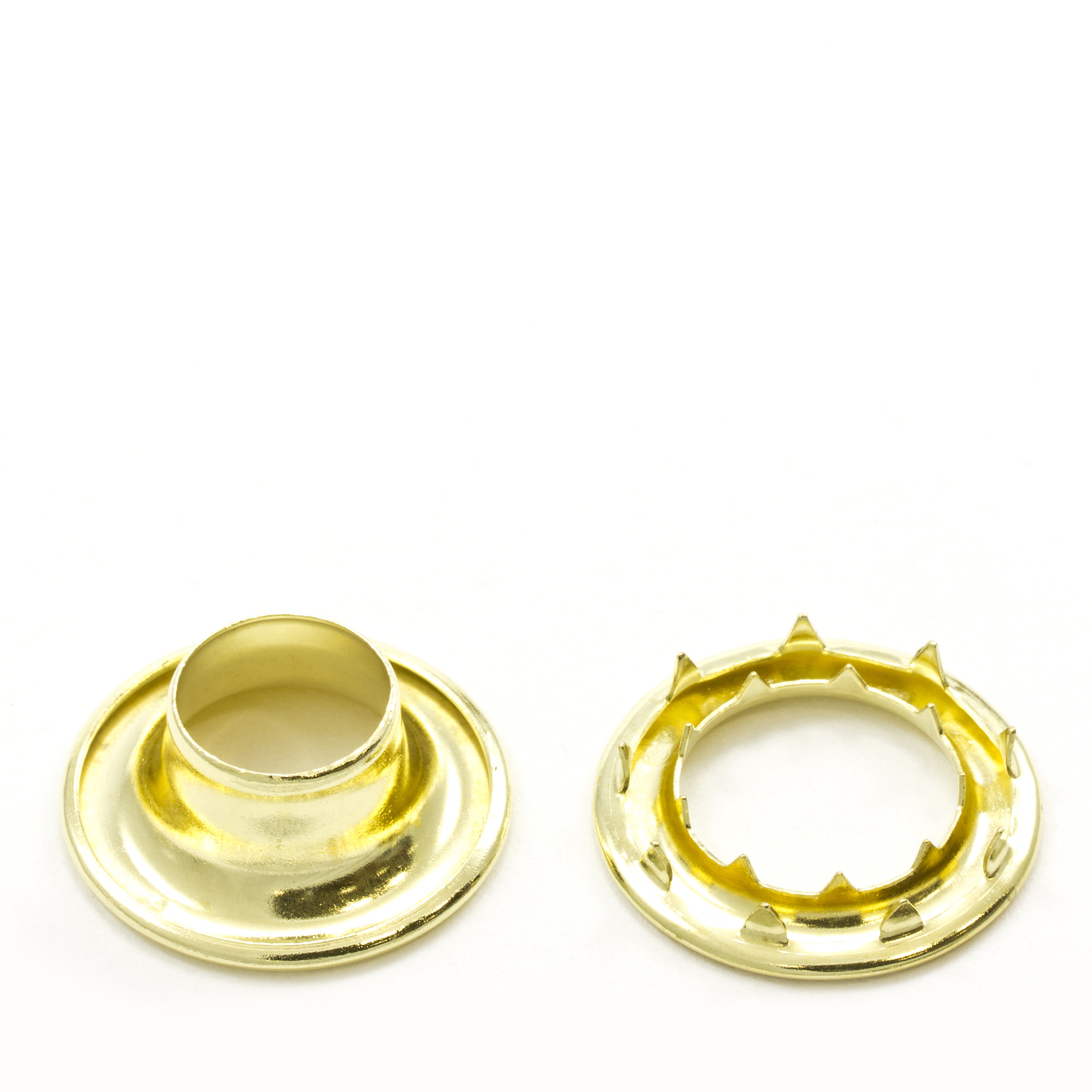 Rolled Rim Grommet with Spur Washer #5 Brass 5/8