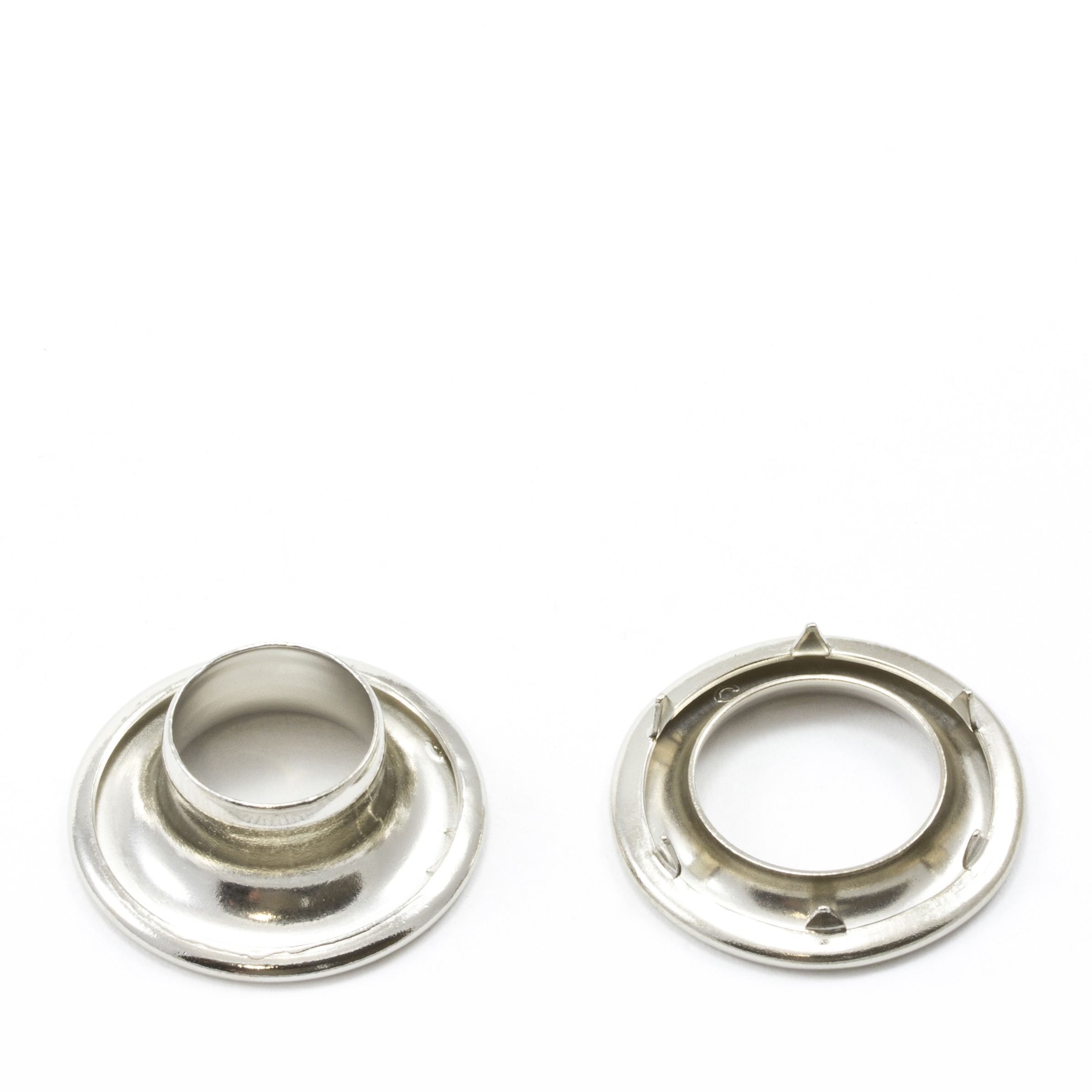 Rolled Rim Grommet with Spur Washer #2 Brass Nickel Plated 7/16