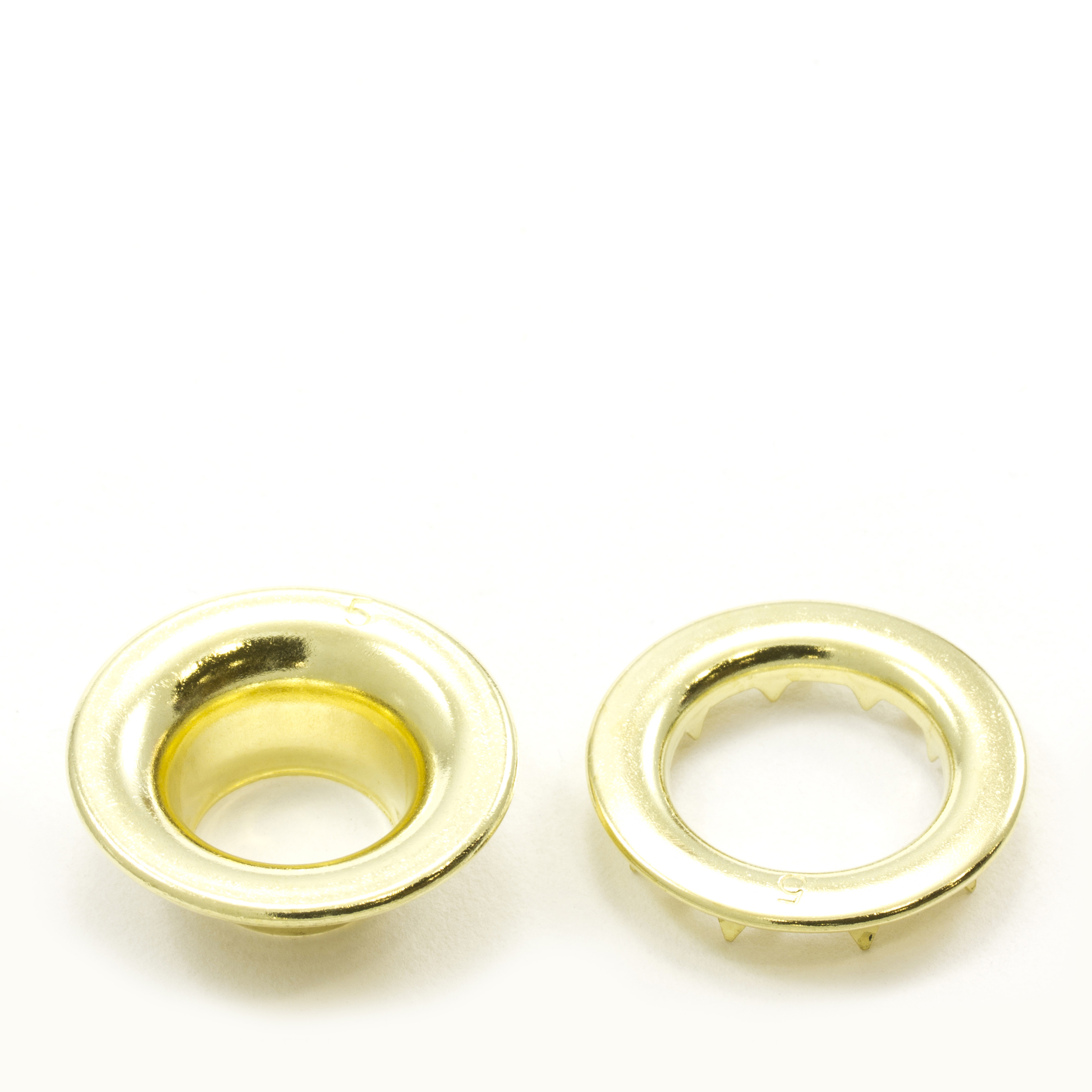 Thumbnail Rolled Rim Grommet with Spur Washer #5 Brass 5/8 1
