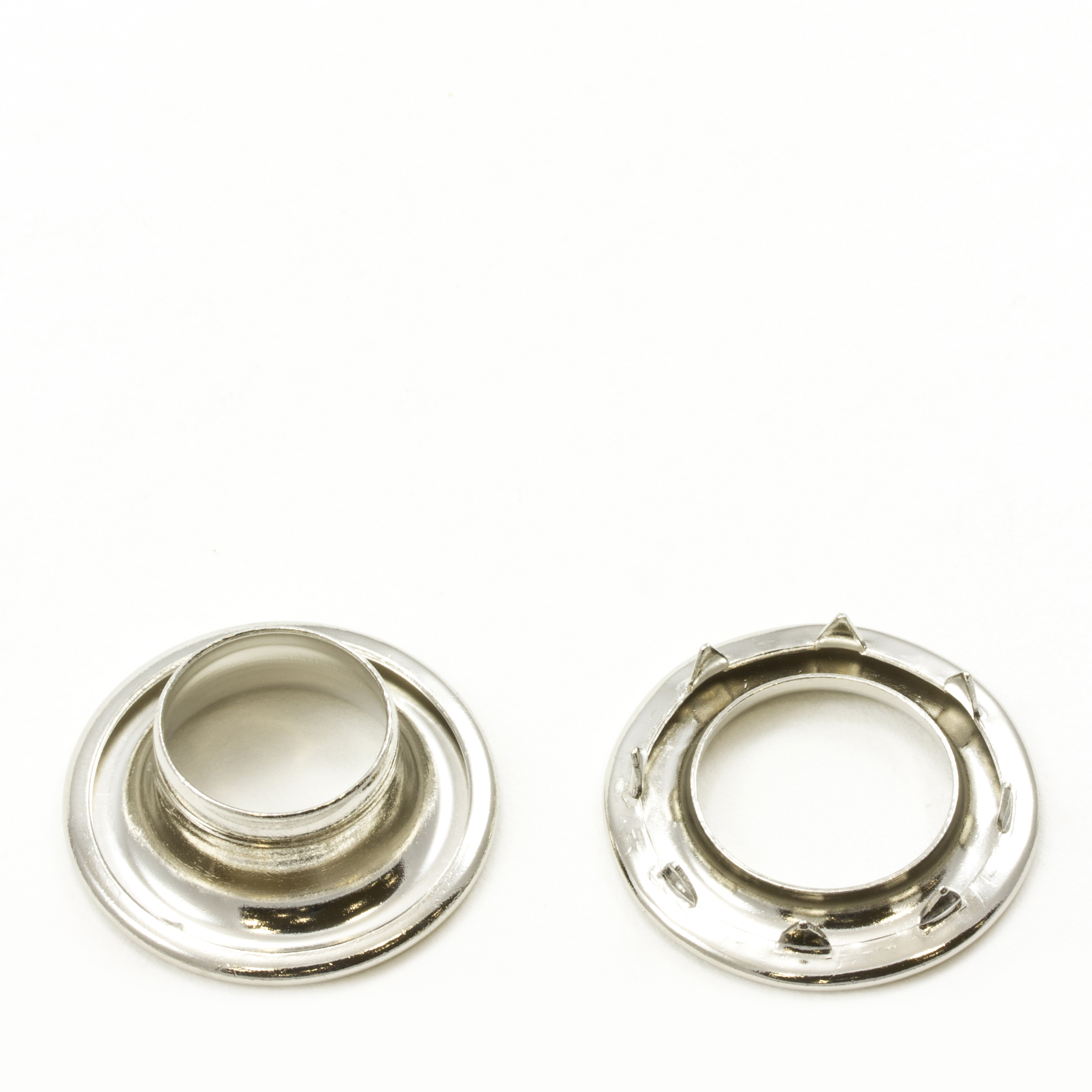 Rolled Rim Grommet with Spur Washer #4 Brass Nickel Plated 9/16