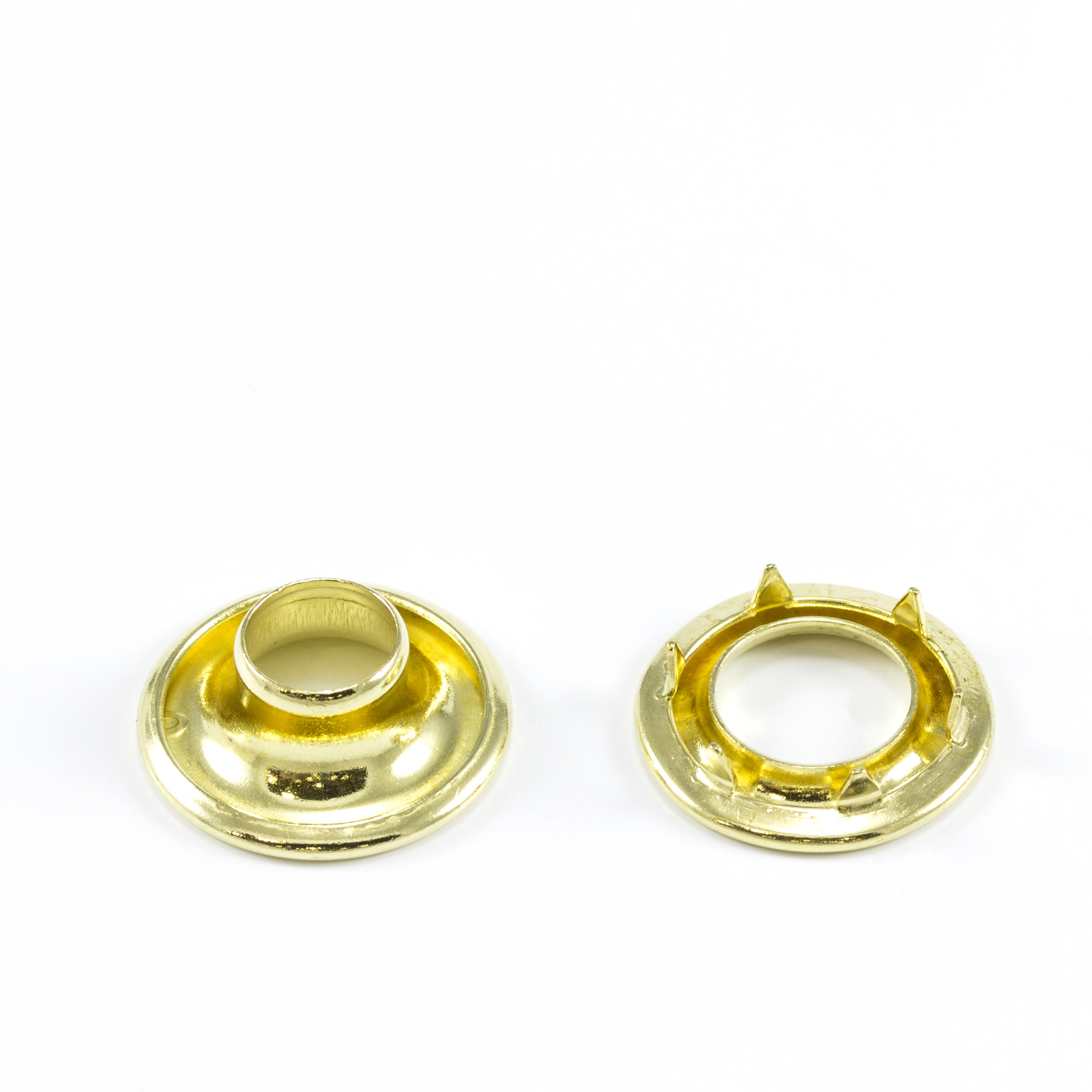 Rolled Rim Grommet with Spur Washer #0 Brass 9/32